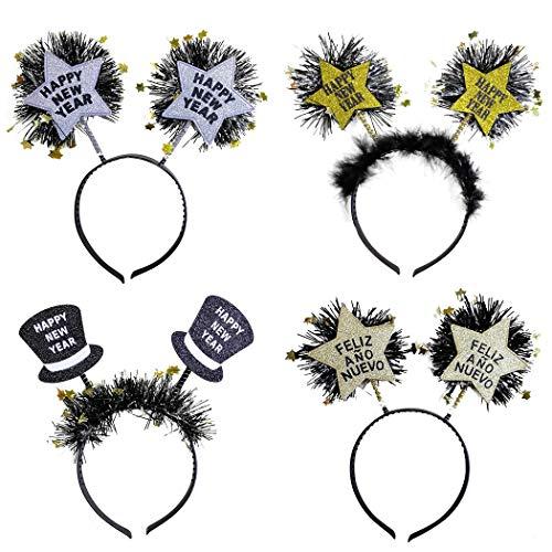 Kostüm Star Stirnband - Joyibay 4 Stücke Haarband Glitter Lametta Star Party Stirnband Kostüm Haarband für Neujahr