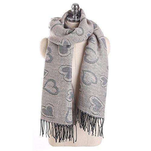 XXL Schal, Canvalite Klassisch Herz Damen Herbst Winter Schal mit Fransen, warm, weich, mehrfarbig (Herz Fransen)