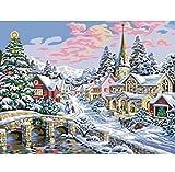 WHXJ 5D Pintura Bricolaje Bricolaje Punto De Cruz Snow Village Diamond Mosaico Paisaje Conjunto para Bordar Imagen De Piedras De Strass Artesanía 60X60Cm