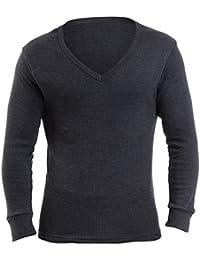3 Sous-Vetements Thermique - Pour Hommes - T-Shirt Thermolactiles 'V-Neck' Gilet Manches Longues - Blanc/Jean
