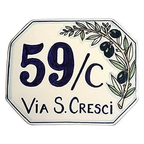 CERAMICHE D\'ARTE PARRINI- ceramica italiana artistica, numero civico 15x12 personalizzato, decorazione olivo, dipinto a mano, made in ITALIA Toscana