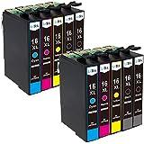 LxTek Compatible Cartuchos de tinta Reemplazo para Epson 16 16XL T1631 T1632 T1633 T1634 ( 4 Negro, 2 Cian, 2 Magenta, 2 Amarillo ) para Epson Workforce WF-2010W WF-2510WF WF-2520NF WF-2530WF WF-2540W WF-2630WF WF-2650DWF WF-2660DWF WF-2750DWF WF-2760DWF Impresora