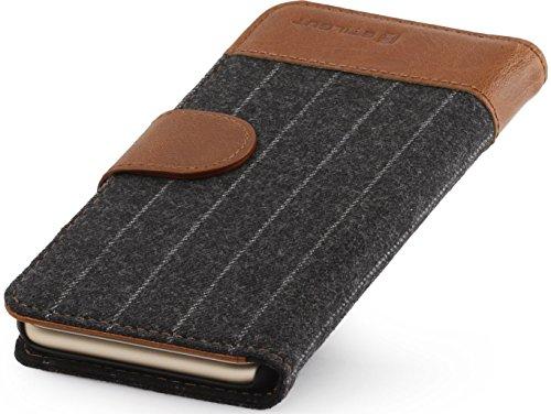 """StilGut Talis, Wallet-Case Schutz-Hülle für iPhone 6s Plus (5.5"""") mit Kreditkarten-Fächern aus echtem Leder. Seitlich aufklappbares Flip Case in Handarbeit gefertigt für das Original Apple iPhone 6s P Nadelstreifenmuster/cognac"""