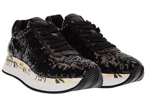 PREMIATA scarpe donna sneakers basse CONNY 2587 NERO Nero