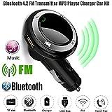 Bluetooth FM Transmitter Colorful(TM) Drahtloser freihändiger Q7 USB Gebühr LED MP3 Bluetooth Auto FM Übermittler mit MIC ,Schwarz