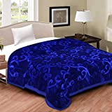 DWardrobe Double Bed Embossed Floral Print Mink Blanket for Winters and ac Rooms