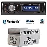VW Polo 9N - Autoradio Radio Caliber RMD020BT - Bluetooth | MP3 | USB | Einbauzubehör - Einbauset