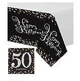 Feste Feiern Geburtstagsdeko Zum 50 Geburtstag | 17 Teile All In One Set Servietten Tischdecke Gold Schwarz Silber Party Deko Happy Birthday