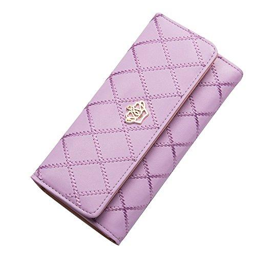 Damen Lila Flache Geldbörse (Contever® Stilvoll Damen Clutch Lang Geldbörse Krone PU Leder Brieftasche Kreditkarte Koffer Geldbeutel Handtasche, Lila)