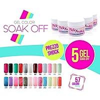 Kit 5 gel color soak off 8 ml ricostruzione unghie acid free scegli i tuoi colori