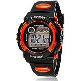 Reloj de los niñosEl Deporte Impermeable Reloj Electrónico Boy Watch Estudiante-naranja