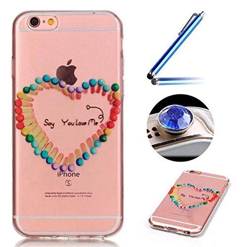 iPhone 5/5S/SE Coque, Etsue pour iPhone 5/5S/SE Vogue Gel Housse étui de Téléphone Mobile ,TPU Silicone Matériau Transparente Ultra Mince Supérieur Semi Transparent Doux Coque avec coloré Motif pour i Forme de Coeur