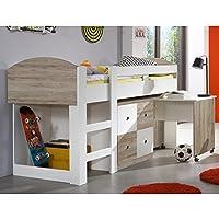 Wimex 326238 Hoch-/Kinderbett, Holz, san remo eiche Nachbildung / Absetzungen alpinweiß, 204 x 98 x 127 cm preisvergleich bei kinderzimmerdekopreise.eu
