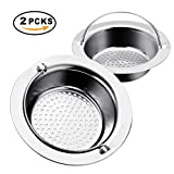 """TAPCET 2PCS Stainless Steel Kitchen Sink Strainer with Handle, Drain Filter Strainer Kitchen Sink Portable Filter Slot, Inner Diameter 85mm/3.35"""", Large Size For UK Sinks"""