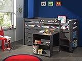 Vipack 'Autobett picohsbubiks15Pino Hochbett mit Schreibtisch/Bücherregal und Kommode 4Schubladen Kiefer massiv Taupe