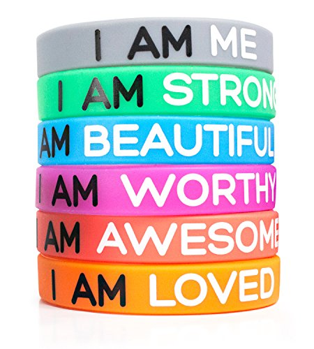 Solza Bracelets Inspirants en Silicone de Ensemble de 6 Pièces en Caoutchouc Bracelets, 6 Couleurs et Messages Différents pour Illuminer Votre Journée | Taille Unisexe pour Adultes, 20 cm x 1 cm