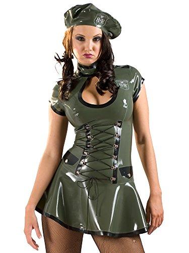 Latex-Militär-Kleid und Beret Grün