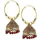 Oxidized Gurjar pearl Hoop Earring