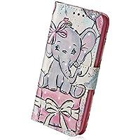 Herbests Handyhülle für Huawei P20 Pro Handytaschen Luxus Glitzer Muster Ledertasche Brieftasche Klapphülle Bookstyle Flip Case Handy Schutzhülle mit Magnetverschluss,Lustig Elefant