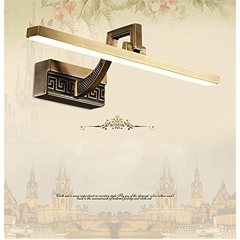 LLHZ-LED rame, regolabile lampada a specchio, bagno, wc, impermeabile, antiruggine, American classica luci dello specchietto e stravaganti , 56cm