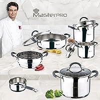 Masterpro - Batería de Cocina Set 9 pcs. Cazo Ø16 cm; Ollas Rectas Ø16