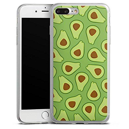 Apple iPhone 8 Plus Slim Case Silikon Hülle Schutzhülle Avocado Muster Frucht Silikon Slim Case transparent