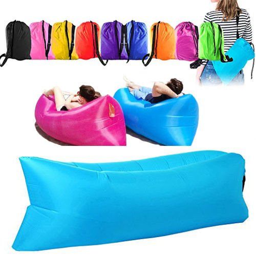 Flm® flmsystem® air bag lettino gonfiabile 240cm softy hangout air sacco divano materassino mare spiaggia campeggio visto in tv camping prato banana sleeping bag colore casuale