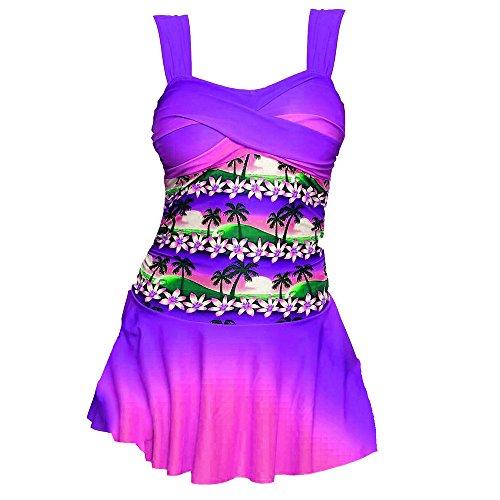 Set Plus Größe Tankini Set Boy Shorts Dot Gepolsterte Damen Push Up Swimdress Beachwear Badeanzug S-5XL (M/40, Z-Lila) ()