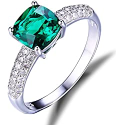 Jewelrypalace 2ct Grün Simulierte Prinzess Nano Russisch Smaragd Silberring Ringe 925 Sterling Silber Damen