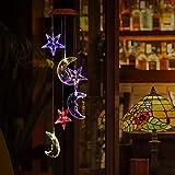 Carillon de vent Solaire LED Étoiles et Lune Changeant des Couleurs Jardinage Décoratif et Auto-détection Lumineux