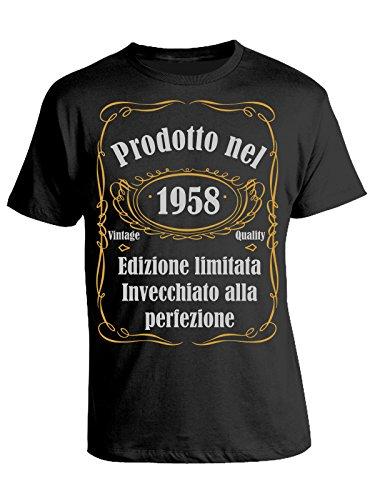 Tshirt compleanno Prodotto nel 1958 edizione limitata invecchiato alla perfezione - vintage quality - idea regalo - eventi - - in cotone Nero