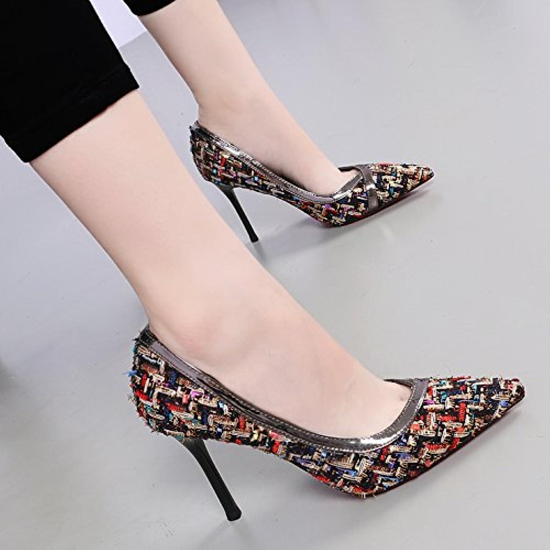 4fbbcbb935e8 KHSKX-Autumn New Sexy Fashion Color Single Shoe Shoe Shoe Woman Personality  Knitted Fabric Shallower Fine Heel High Heel... B0798RDZVC Parent 91fea8