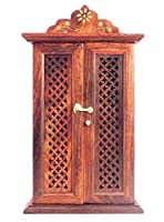 Beautiful Key holder cabinet is a wall hanging cabinet to store you keys in one place. The product is made of pure sesum wood in North India. Its elegent and ethnic design will enhance you wall decoration