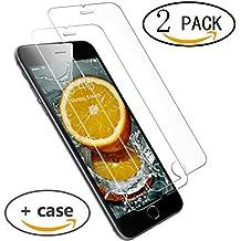 [2 Pack] Wellead Cristal Templado para iPhone 6 6S Protector de Pantalla de Vidrio Cristal Templado para iPhone 6 6S Contra los Arañazos Y Al Polvo 9H Dureza Alta Transparencia ( Regalo 1 TPU Funda )