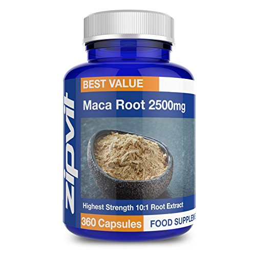 Maca Root Capsules 2500mg | 10:1 Maca Root Powder Extract | 360 Vegan High Strength Capsules | TWELVE MONTHS SUPPLY | Vegetarian Society Approved