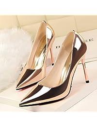Xue Qiqi Simple et élégant et polyvalent avec fine carrière high-heeled satin et vidéo polyvalent lumière fine pointe de buse,35, noir chaussures femmes