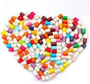 PAFUWEI 100pcs Fake Pills Capsule Letters Message in Bottle Glass - Love Capsule Pills for Great for Lovers Fa
