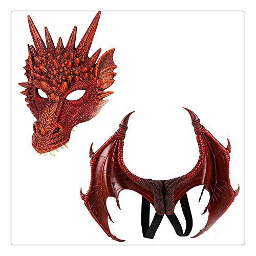 Z-one 1 Jurassic World Special Mask Horror Jurassic Dinosaurier Velociraptor Neuheit Halloween Weihnachten Ostern Halloween Kostüm Party mit 3D Dinosaurio Drachen Flügel Kinder Unisex (rot)