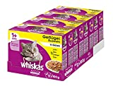 Whiskas Katzen-/Nassfutter Multipack Adult 1+ für Erwachsene Katzen Geflügelauswahl in Gelee, 48 Portionsbeutel (4 x 12 x 100 g)