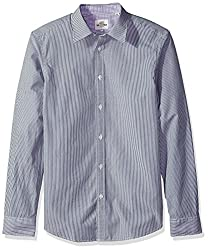 Ben Sherman Mens Long Sleeve Colored Ground Stripe Shirt-Tbl, True Black, XX-Large