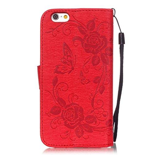 SZHTSWU Hülle für iPhone 6 6s, Magnetverschluss Schmetterling Blumen Series mit Lanyard Strap Design PU Leder und Bling Strass Glitter Tasche Weiche Silikon Schutzhülle Hülle Flip Wallet Case Handyhül Rot