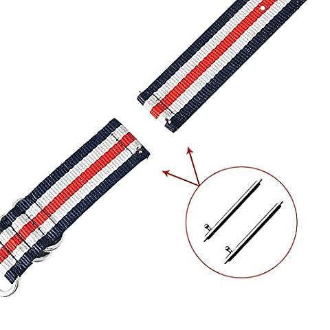 Transer® für Xiaomi Amazfit Mode Leinwand Ersatz Armband Armband mit Schnalle, Stecker, Dicke: 2mm Band Länge: 210mm