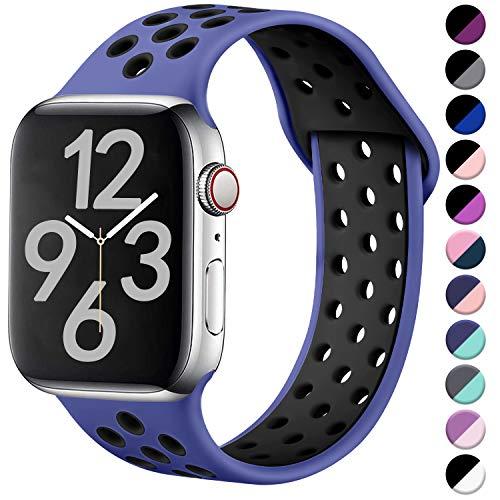 Hamile Correa para Apple Watch 42mm 44mm, Doble Color Pulsera de Repuesto de Silicona Suave Transpirable Correa para Apple Watch Series 5/4/3/2/1, S/M Real Azul/Negro