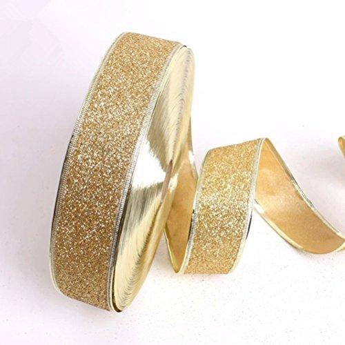 STOBOK Glitter Ribbon Weihnachtsbaum Dekoration Band Party Hochzeit Dekor (Gold) -