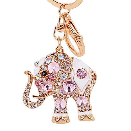 Luxus-Elefant Schlüsselanhänger Handtasche hanging Schnalle Wallet Accessories Schlüsselanhänger (Rosa)-Samtlan -