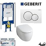 Geberit Duofix UP 320 ECK Vorwandelement mit Sigma01 WEISS, Keramag ICON , rimfree, Spülrandlos, Tiefspül-WC, inkl. Sitz ,Keratect Beschichtung