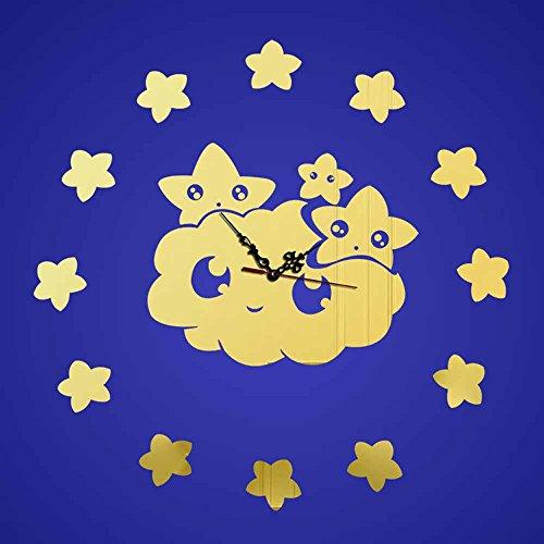 KHSKX Wanduhr DIY Spiegel, Lächeln der Sterne Acryl Wanduhr, Wohnzimmer Schlafzimmer Dekor Uhr Aufkleber , (Eine Standuhr Kostüm)