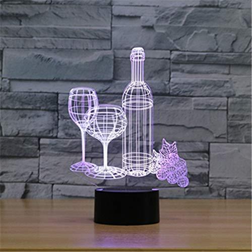 Bunte Weingläser 3D Nachtlicht USB Plug-in 3D Vision Home Schlafzimmer Nachttisch Lampe Bar Tisch Atmosphäre Lampe Kunst Lampe -
