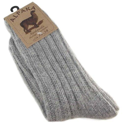 Fellhof Alpaka Socken dick 271235-GREY Unisex Socken, grau, Gr. 39-42