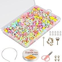 5d40e9c9bcb7 ... juegos de hacer pulseras collares y anillos. Set de cuentas de DIY para  niños (500 piezas)
